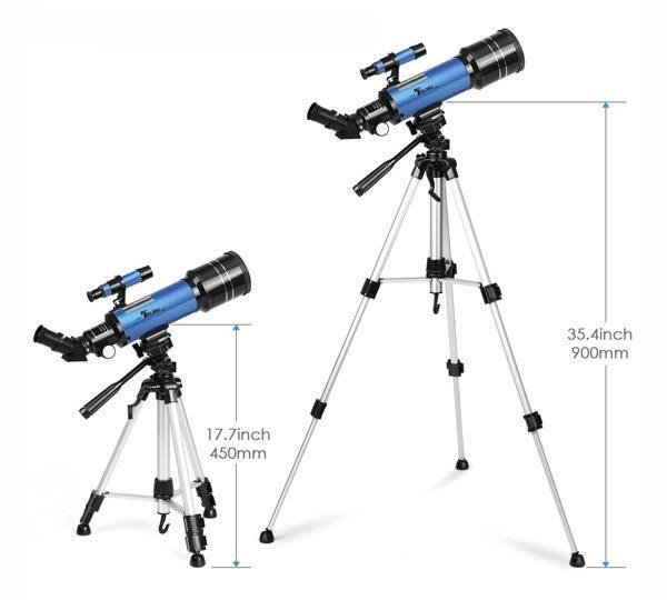 TELMU Telescope, 70mm Aperture 400mm AZ Mount Astronomical Refracting Telescope Adjustable